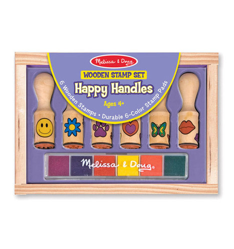 [Melissa&Doug] Wooden Stamp Set - Happy Handles