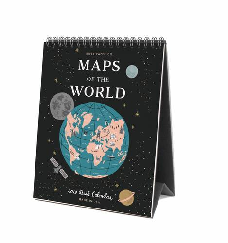 [Rifle Paper Co.] 2019 Maps of The World Desk Calendar