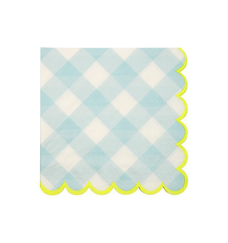 [Meri Meri]Blue Gingham Napkins Small