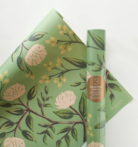 [Rifle Paper Co.] Emerald Peonies Wrapping Sheets [3 sheets]