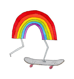 [Tattly] Rainbow Skateboard Pairs