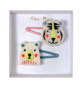 [Meri Meri] Embroidered Bear&Tiger Hair Clips