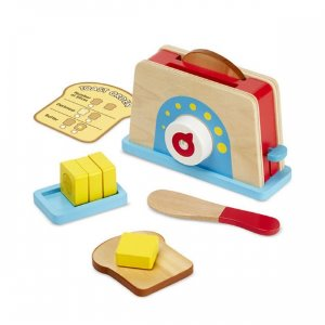 [Melissa & Doug] Wooden Bread & Butter Toaster Set