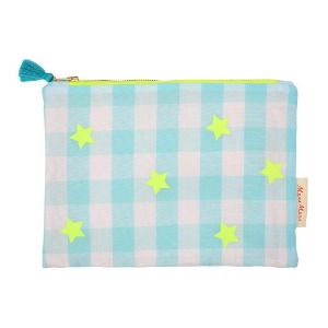 [Meri Meri] Blue And Neon Gingham Pouch