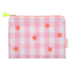 [Meri Meri] Pink And Neon Gingham Pouch