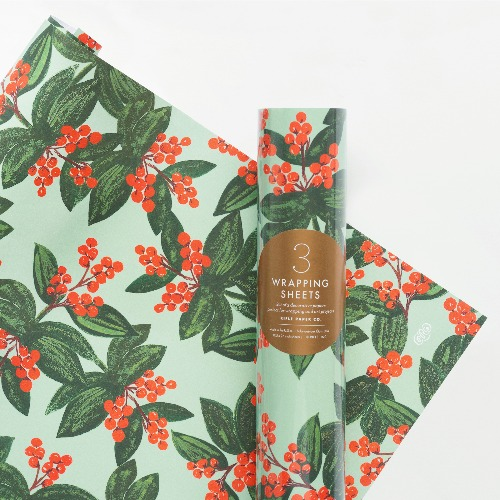 [Rifle Paper Co.] Winterberries Wrapping Sheets [3 sheets]