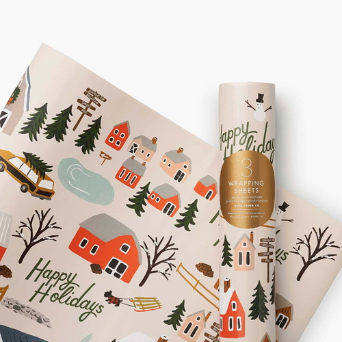 [Rifle Paper Co.] Holiday Tree Farm Wrapping Sheets [3 sheets]