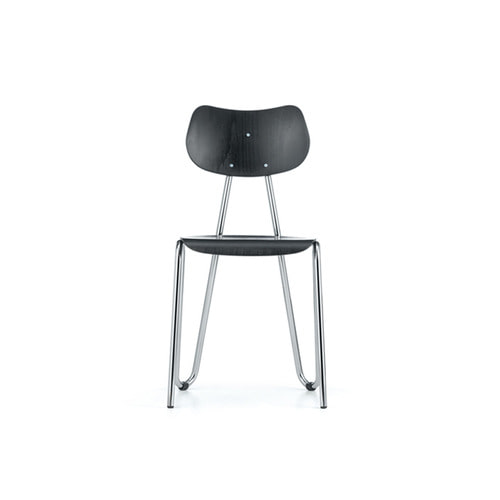 [L&C stendal] Arno 417 Chair - Black Stained Beech/Chrome Frame