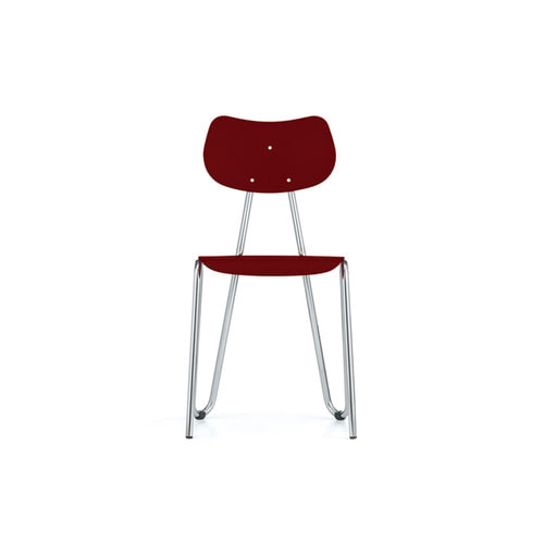 [L&C stendal] Arno 417 Chair - Red Stained Beech/Chrome Frame
