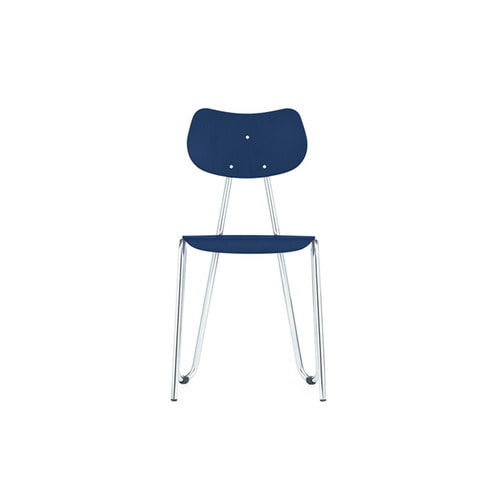 [L&C stendal] Arno 417 Chair - Dark Blue Stained Beech/Chrome Frame