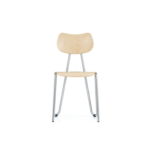 [L&C stendal] Arno 417 Chair - Natural Beech/Chrome Frame