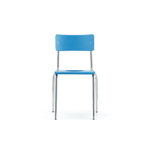 [L&C stendal] Comeback 041 Chair - Light Blue Stained Beech/Chrome Frame