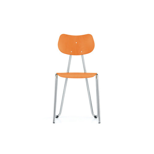 [L&C stendal] Arno 417 Chair - Orange Stained Beech/Chrome Frame