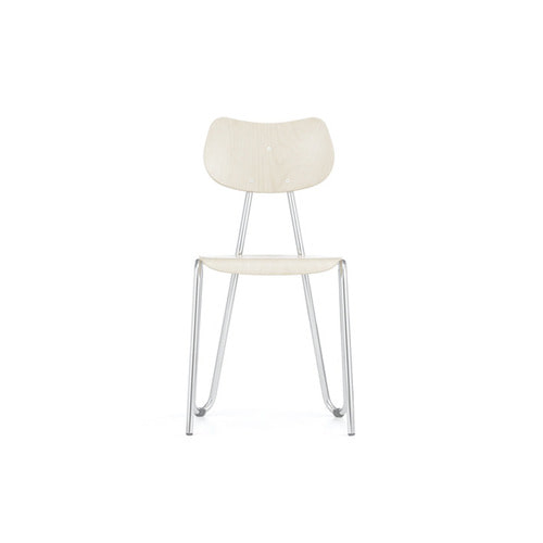 [L&C stendal] Arno 417 Chair - White Stained Beech/Chrome Frame