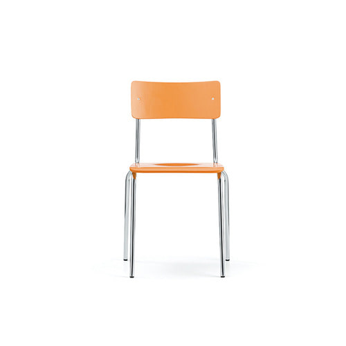 [L&C stendal] Comeback 041 Chair - Orange Stained Beech/Chrome Frame