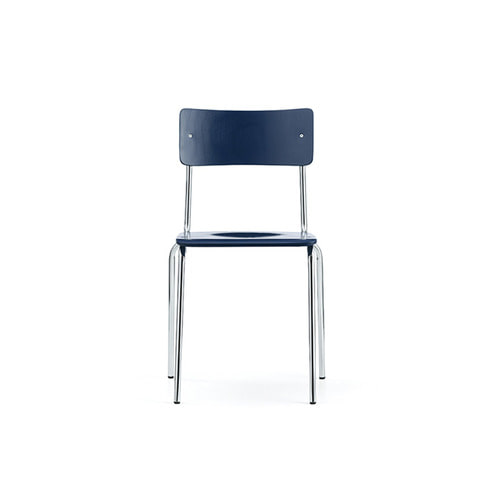 [L&C stendal] Comeback 041 Chair - Dark Blue Stained Beech/Chrome Frame