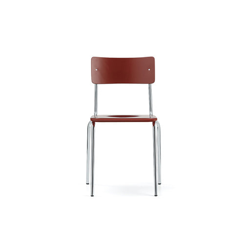 [L&C stendal] Comeback 041 Chair - Red Stained Beech/Chrome Frame
