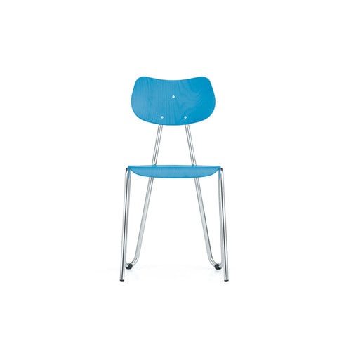 [L&C stendal] Arno 417 Chair - Light Blue Stained Beech/Chrome Frame